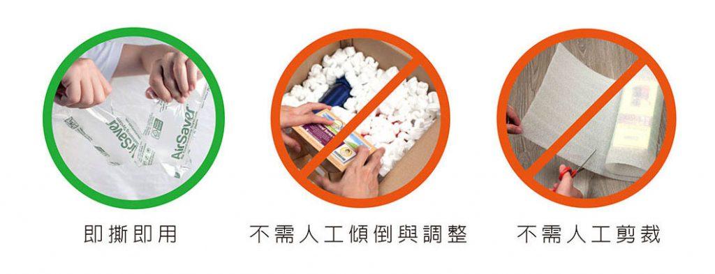 新型氣泡布優勢-即撕即用、不需人工傾倒與調整、不需人工剪裁