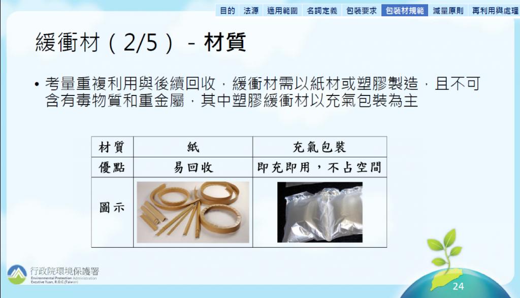 緩衝材只可使用紙或塑膠PE